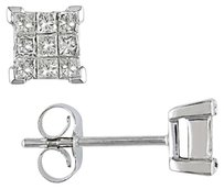 14k White Gold Diamond Geometric Stud Earrings 0.5 Cttw G-h I1