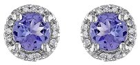 Other 10k White Gold Diamond And 1 110 Ct Tgw Tanzanite Ear Pin Earrings Gh I2i3