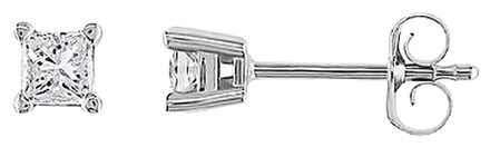 Other 14k White Gold 14 Ct Diamons Princess Cut Solitaire Stud Earrings H-i I1-i2
