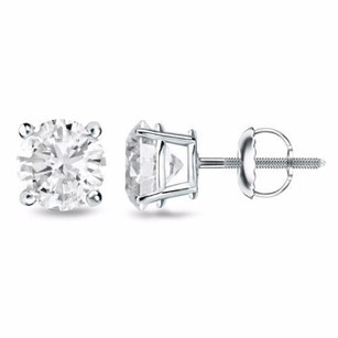 Other Studs Unisex Solid 14k Gold Earrings 1.00 Ct Cubic Zirconia Round Cut Solitaire