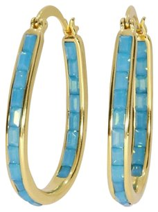 Other Stunning 18Kt Gold Plated Turquoise Crystal Inside Outside Hoop