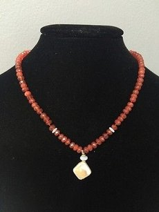 Other Susan Lieber Designs 16 Carnelian Beaded Necklace W Opals And Freshwater Pearl