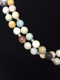 Susan Lieber Designs 37 Blue Black Brown Frosty Agate Beaded Necklace
