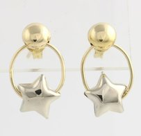 Other Swinging Star Earrings - 18k Yellow White Gold High Karat Two Toned Dangle