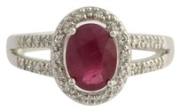 Synthetic Ruby Diamond Halo Cocktail Ring - 14k White Gold Oval 1.60ctw