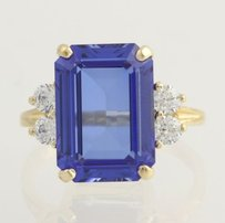 Synthetic Sapphire Cubic Zirconia Cocktail Ring- 14k Yellow Gold 34 Cz