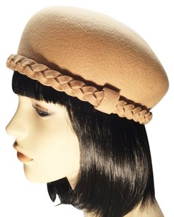 Tan Felt Pillbox with Braid Trim; Fall & Winter [ HeavenlyHats ]