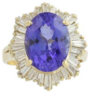 Tanzanite Diamond Cocktail Ring - 14k Yellow Gold December Genuine 9.20ctw