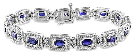 Other Sterling Silver Sapphire And Accent Diamond Tennis Bracelet 6.55 Ct H-i I3 7