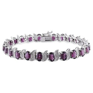 Other Sterling Silver Diamond 13.68 Ct Tgw Rhodolite Bracelet Gh I3length Inches 7