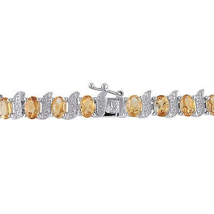Other Sterling Silver Diamond 10 45 Ct Tgw Citrine Bracelet Gh I3length Inches 7