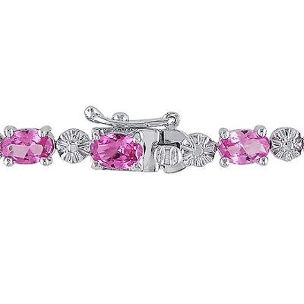Other Sterling Silver Created Pink Sapphire And Diamond Link Bracelets 7.25 I-j I2-i3