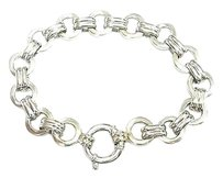 Aaron Basha 18kt Double Bar Open - Link Large White Gold Bracelet 7