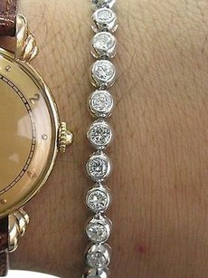 Other Fine Round Cut Diamond Bezel Set White Gold Tennis Bracelet 4.40ct Gvs2 6.5