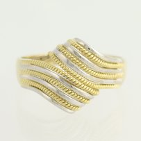 Other Textured Bypass Ring - 18k Yellow White Gold Womens 14
