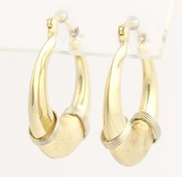 Other Textured Gold Hoop Earrings - 14k Yellow Gold Smooth Matte Finishes Pierced