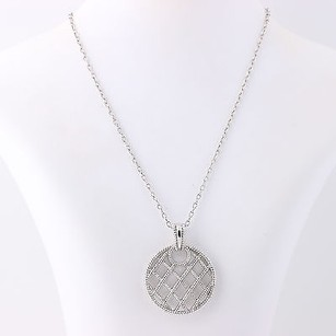 Textured Pendant Necklace 18 - Sterling Silver Womens Gift