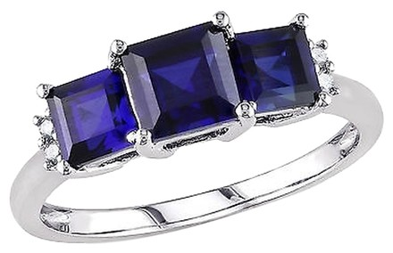 Other 10k White Gold Diamond And 2 15 Ct Tgw Blue Sapphire 3-stone Ring Gh I2-i3