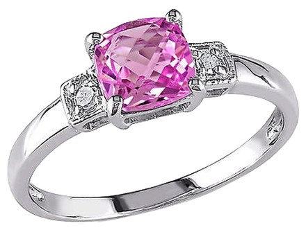 Other Sterling Silver Diamond And 1 14 Ct Tgw Pink Sapphire 3-stone Fashion Ring I3