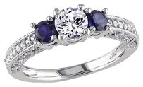 Other 10k White Gold 16 Ct Diamond 1 Ct White Sapphire Blue Sapphire Ring Gh I2-i3