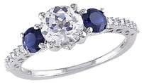 10k White Gold 17 Ct Diamond 2 Ct White And Blue Sapphire 3-stone Ring