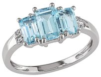 Other 10k White Gold Diamond And 1 12 Ct Sky Blue Topaz 3-stone Fashion Ring Gh I2-i3