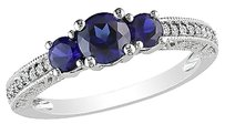 Other 10k White Gold 16 Ct Diamond 1 Ct Tgw Blue Sapphire Fashion Ring Gh I2-i3