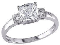 10k White Gold Diamond 1 14 Ct Tgw White Sapphire 3-stone Fashion Ring