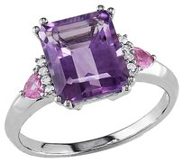 10k White Gold Diamond 3 12 Ct Amethyst Pink Sapphire Fashion Ring Gh I2-i3