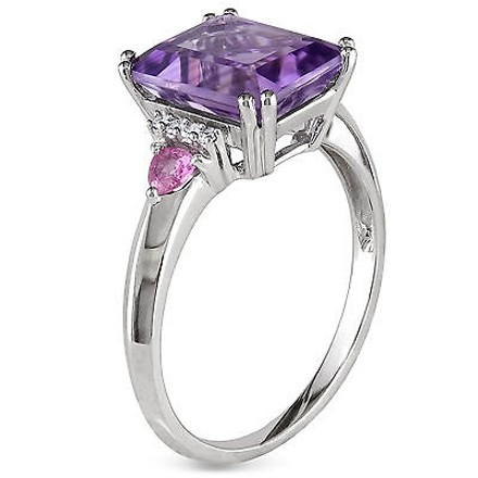 Other 10k White Gold Diamond 3 12 Ct Amethyst Pink Sapphire Fashion Ring Gh I2-i3