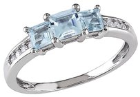 Other 10k White Gold 110 Ct Diamond Tw 45 Ct Tgw Aquamarine 3 Stone Ring Gh I2-i3