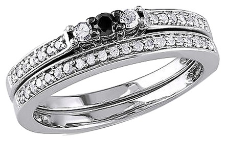Other Sterling Silver 14 Ct Tw Black And White Diamond Bridal Set Ring I3