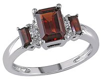 10k White Gold Diamond 1 35 Ct Garnet Three Stone Fashion Ring Gh I1i2