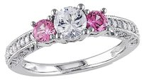 10k White Gold 16 Ct Diamond 1 Ct White Sapphire Pink Sapphire Ring Gh I2-i3