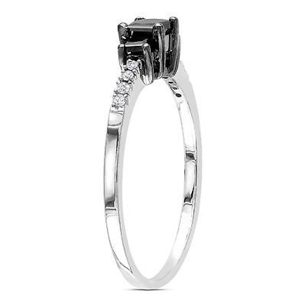 Other Sterling Silver 12 Ct Black And White Princess Round Diamonds Engagement Ring