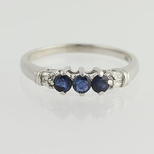 Three-stone Sapphire Ring - 10k White Gold Diamond Accents 12 Genuine .81ctw