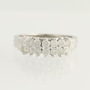 Tiered Diamond Ring - 10k White Gold April Birthstone 1.00ctw