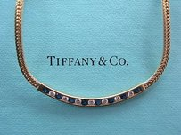 Tiffany Co 18kt Gem Sapphire Diamond Necklace 1.50ct