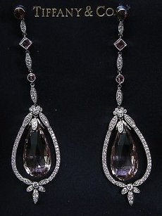 Tiffany Co Platinum Morganite Pink Tourmaline Diamond Drop Earrings 32.76ct