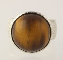 Other Tigers Eye Quartz Ring - 925 Sterling Silver Textured Band Womens Estate