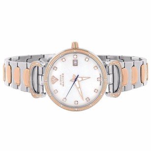 Tone Womens Watch White Rose Gold Tone Mother Of Pearl Mop Genuine Diamonds