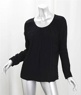 Other Zucca Black Silky Gathered Georgette Overlay Knit Shirt Top