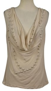 Other Warehouse Womens Silk Sleeveless Sheer Shirt Top Beige