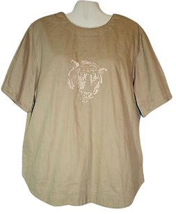 Other Vintage Gene Ewing Bis 2x Khaki Embroidered Tiger Pullover Shirt Top Beige