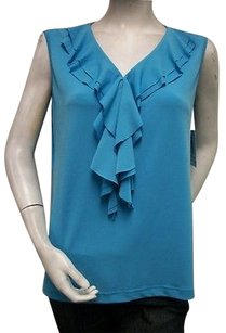 N Touch Double Ruffled Top Blue