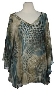 Other Three Dots Red Womens Printed Casual Semi Sheer Shirt Top Blue