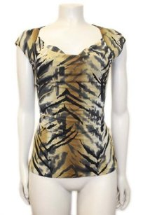 Other Classques Atelier Grey Black Silk Cap Sleeve Stretch Top Multi-Color