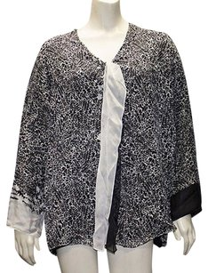Shamask Black White Silk Top Multi-Color