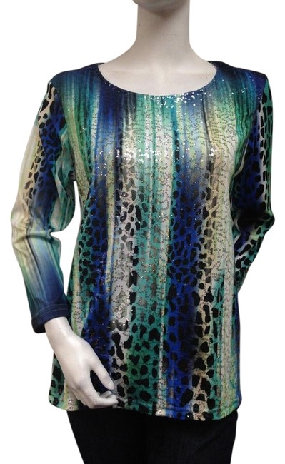 Impulse California Multi Colored Animal Print Top Sequined With Tags #19747428 - Blouses 60%OFF