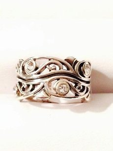 Other Tp Jewel Sterling Silver Filigree Band Ring Cz Round Accent Stones 12